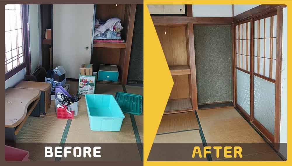 家財一式の処理にお困りのお客様から不用品(タンス、カラーボックス、布団、収納、テーブル、細々した物)の処分でご依頼いただきました。
